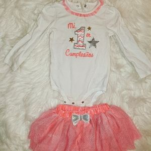 """Baby Girls 1st Birthday Outfit """"Mis 1er Cumpleaños"""